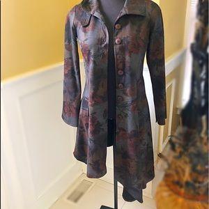 NWOT - Floral Print Asymmetrical Long Jacket
